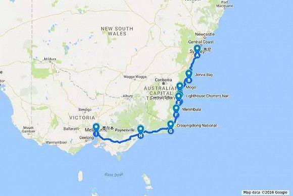 悉尼 墨尔本 地图