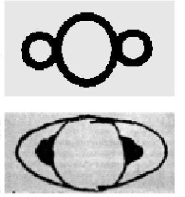(图:伽利略手绘.图注:伽利略手绘土星,上下图分别于1610、