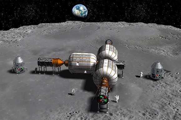 艺术家对于毕格罗月球基地的构想图.图源:bigelow aerospace