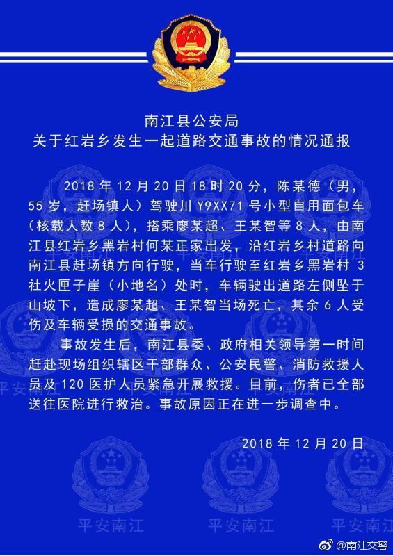 南江交警微博消息, 昨日(20日)四川巴中南江县红岩乡发生一起道路交通