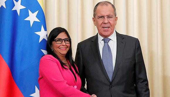3月1日,俄罗斯莫斯科,委内瑞拉副总统罗德里格斯访问俄罗斯,会见俄外