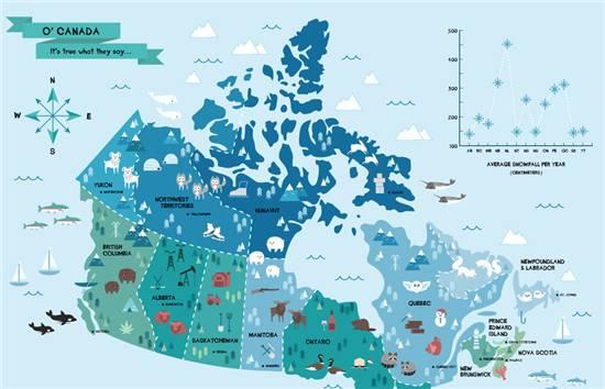 地图1:加拿大每个区域最常见的动物 动物爱好者通过这张地图可以轻