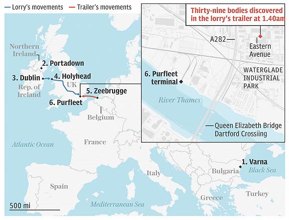 """""""死亡货车""""移动路线(蓝线:卡车移动路线;红线:集装箱移动路线) 来源:英国《每日电讯报》"""