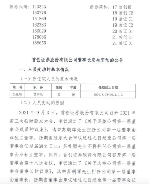 """欧亿OE代理又见拟IPO券商更换""""掌门人"""",苏朝晖当选首创证券新任董事长"""